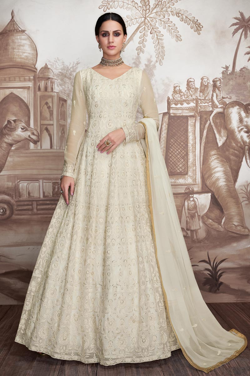 Eid Special Georgette And Net Fabric Off White Color Designer Embroidered Long Length Anarkali Dress