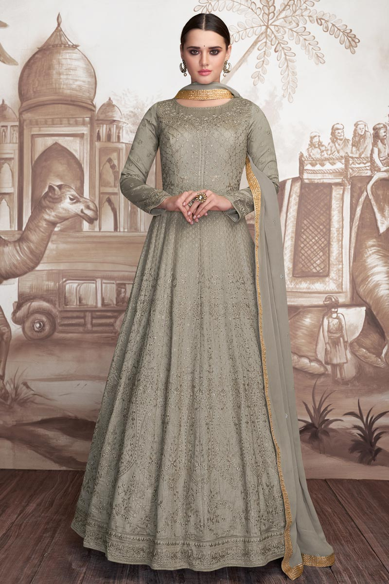 Grey Color Designer Embroidered Long Length Anarkali Dress In Georgette And Net Fabric