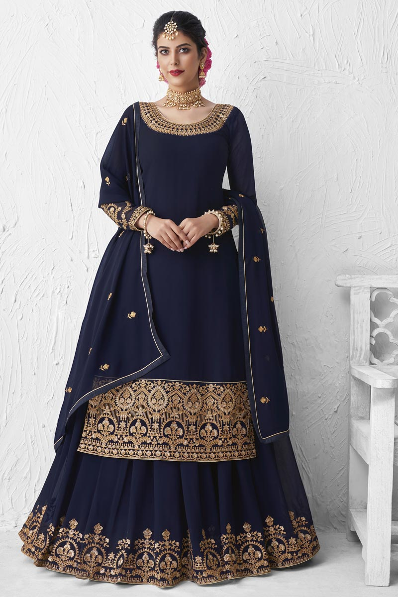 Georgette Designer Party Wear Embroidered Navy Blue Color Sharara Top Lehenga