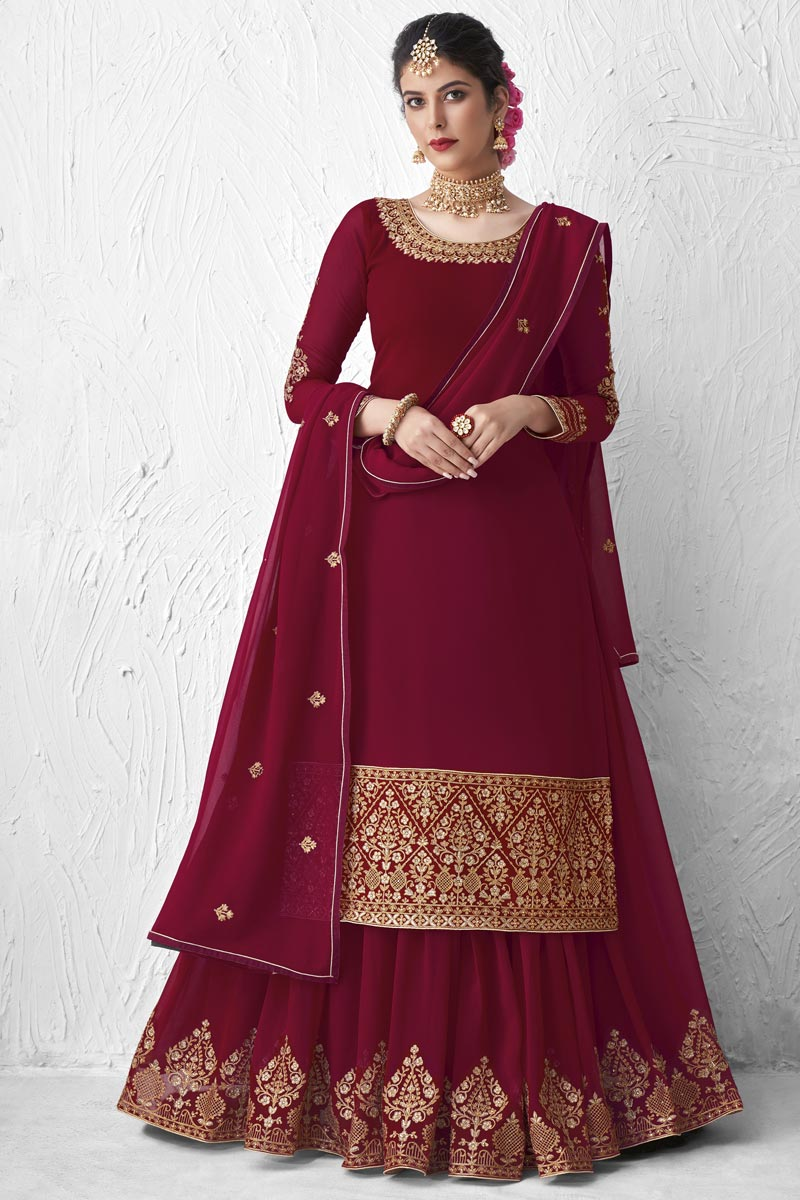 Designer Maroon Color Embroidered Party Wear Sharara Top Lehenga In Georgette