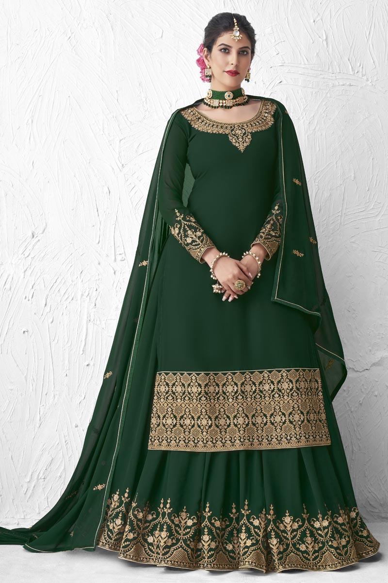 Georgette Designer Party Wear Dark Green Color Embroidered Sharara Top Lehenga