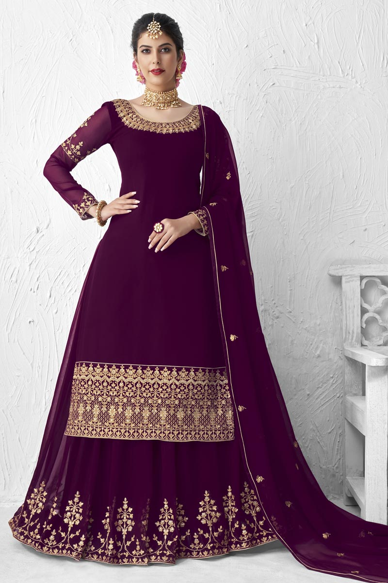Designer Party Wear Georgette Embroidered Sharara Top Lehenga In Purple Color