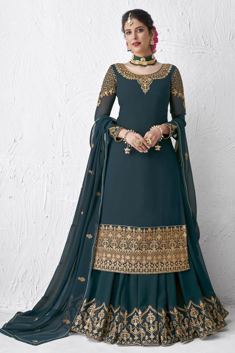 Teal Color Embroidered Designer Party Wear Sharara Top Lehenga In Georgette