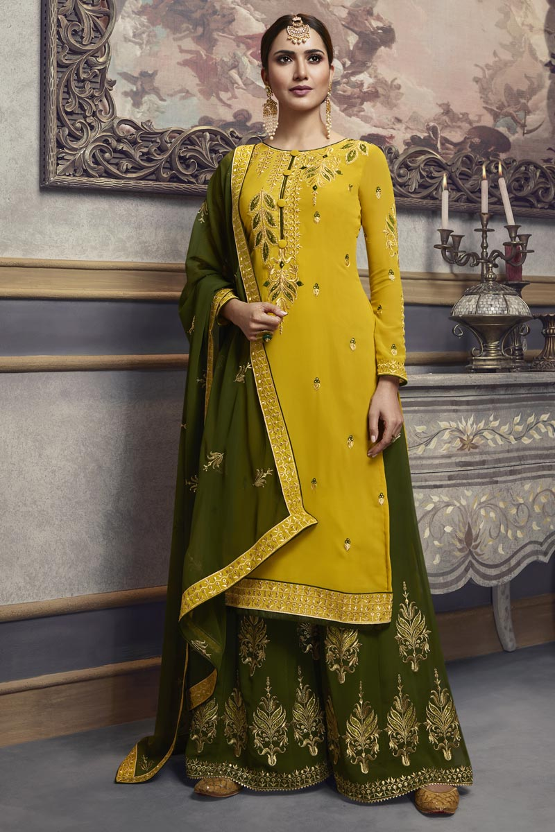 Eid Special Yellow Traditional Wear Designer Embroidered Palazzo Dress In Georgette