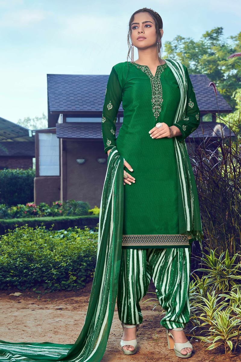 Crepe Fabric Trendy Festive Wear Green Color Embroidered Patiala Dress