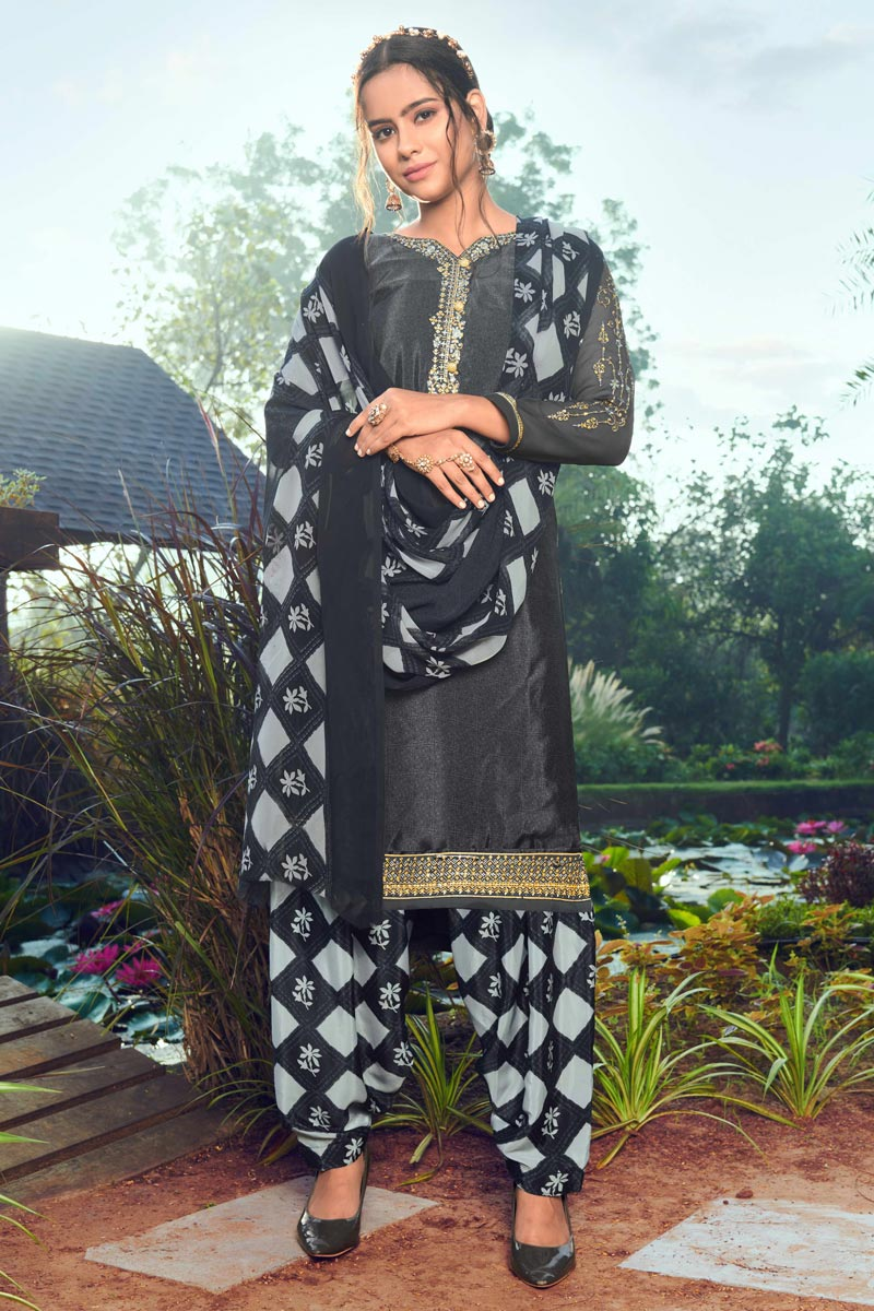 Trendy Grey Color Festive Wear Embroidered Patiala Suit In Crepe Fabric