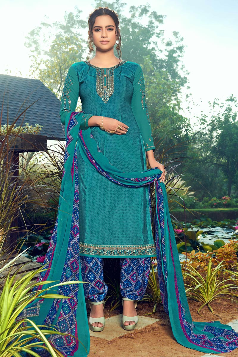 Festive Wear Crepe Fabric Cyan Color Trendy Embroidered Patiala Dress
