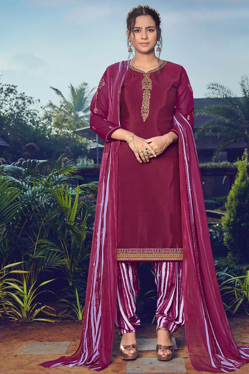 Crepe Fabric Trendy Festive Wear Wine Color Embroidered Patiala Suit