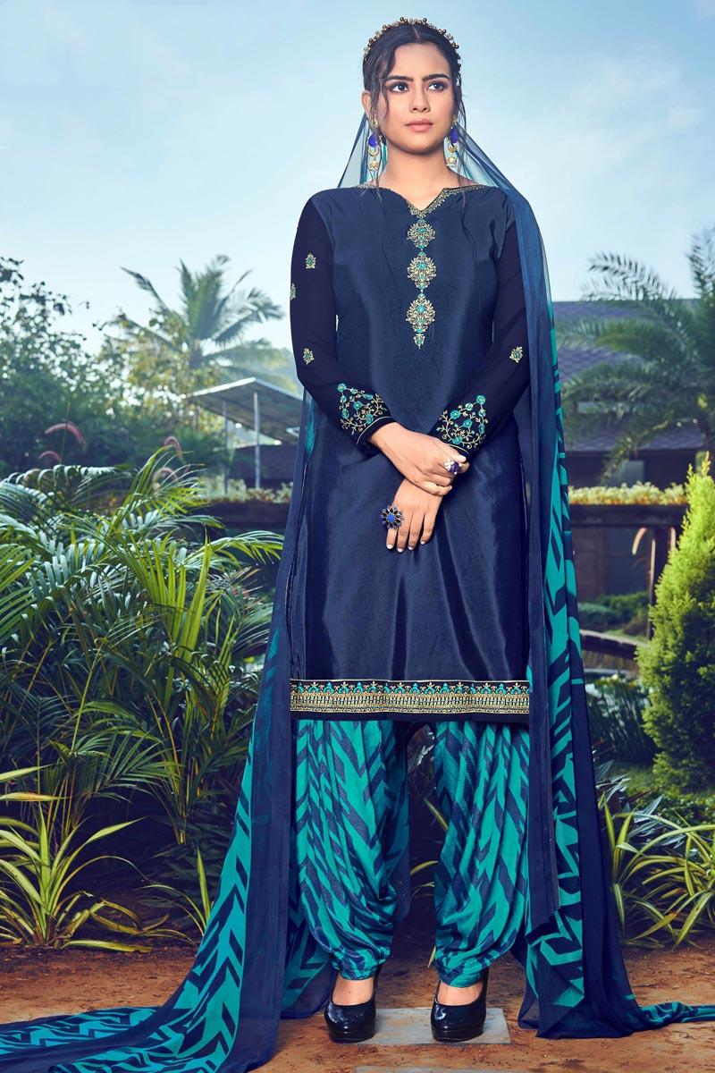 Festive Wear Trendy Navy Blue Color Crepe Fabric Embroidered Patiala Dress