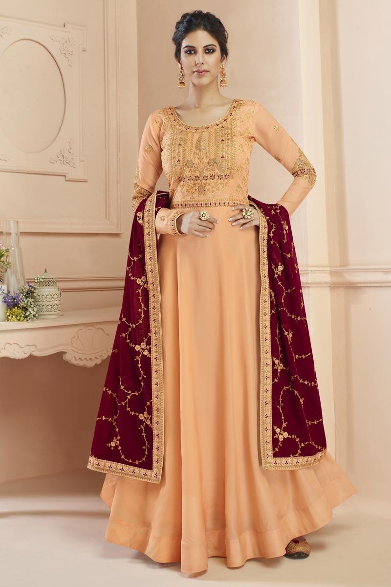Eid Special Art Silk Sangeet Wear Embroidered Peach Floor Length Anarkali Dress