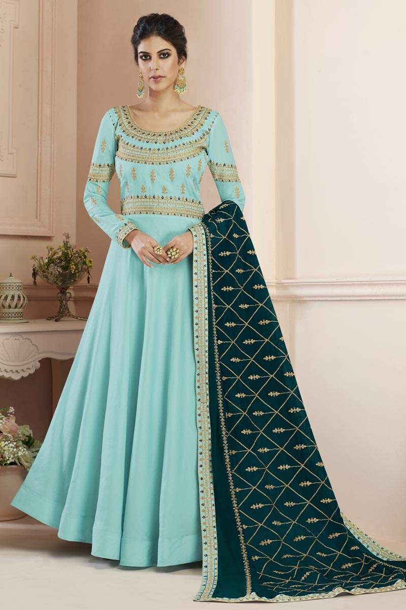 Eid Special Sangeet Wear Long Length Cyan Embroidered Anarkali Suit In Art Silk
