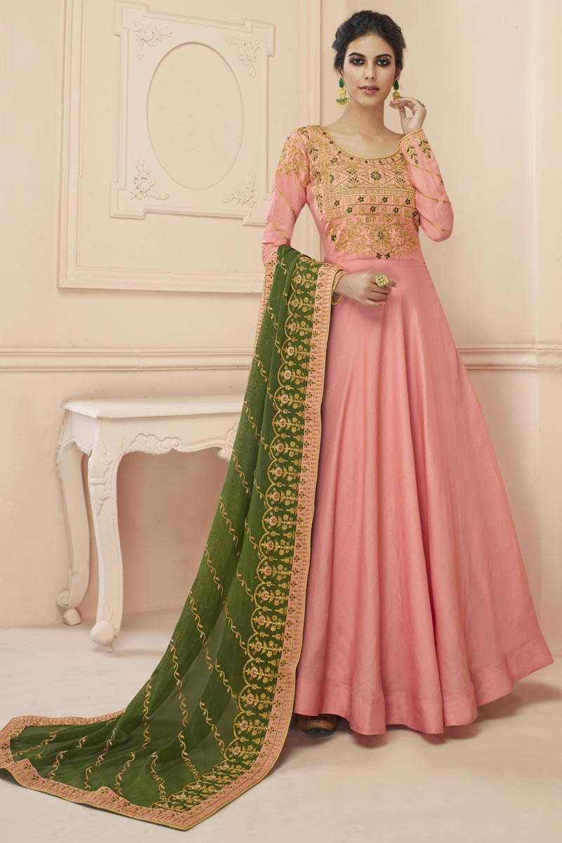 Eid Special Art Silk Sangeet Wear Pink Embroidered Floor Length Anarkali Dress