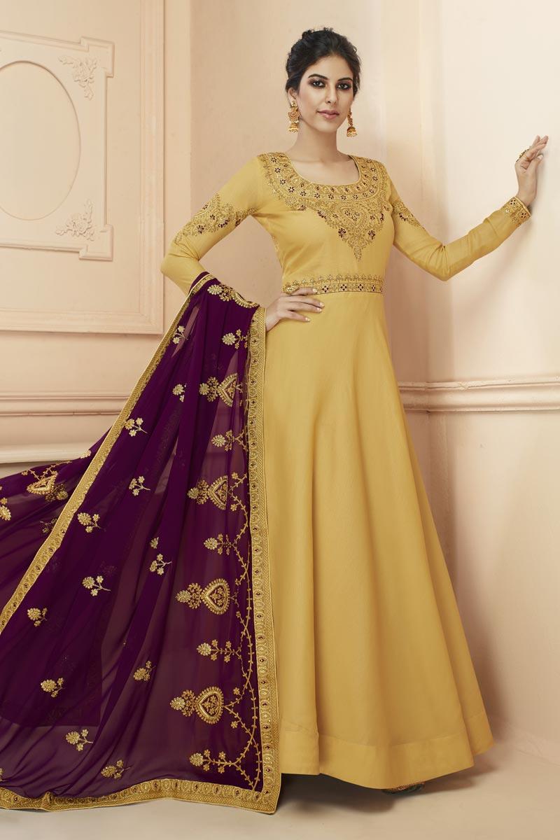 Eid Special Art Silk Yellow Sangeet Wear Embroidered Floor Length Anarkali Dress