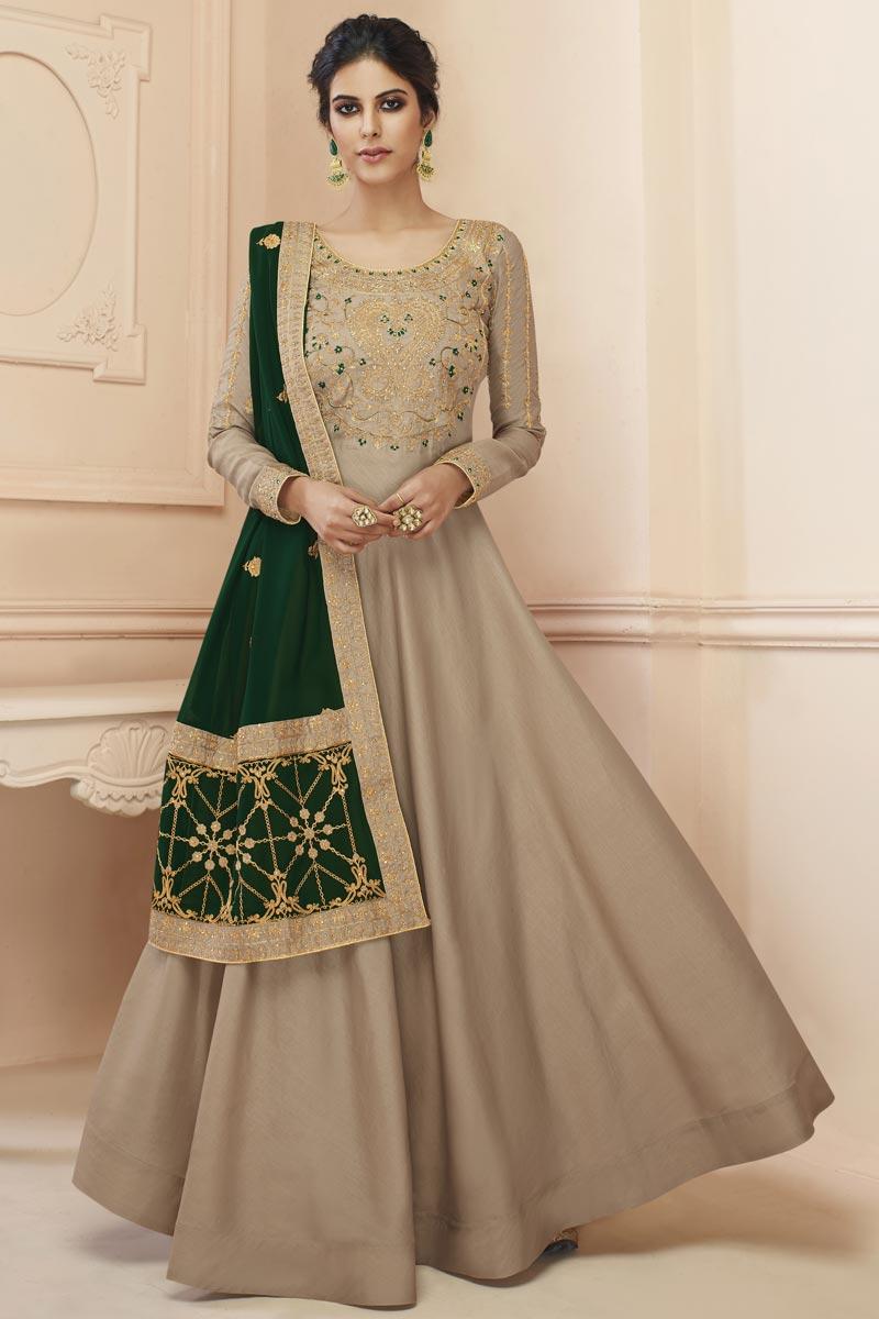 Eid Special Sangeet Wear Art Silk Embroidered Long Length Anarkali Suit In Cream