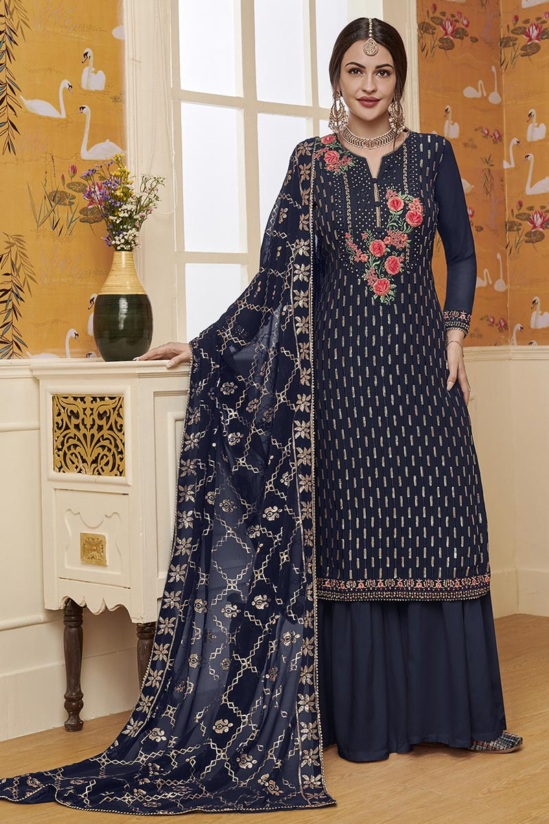 Designer Navy Blue Color Traditional Wear Georgette Fabric Embroidered Palazzo Suit