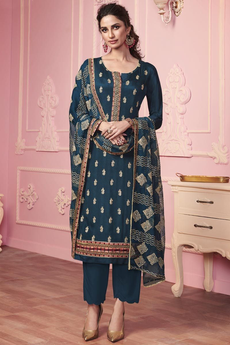Art Silk Fabric Party Wear Embroidered Salwar Suit In Navy Blue Color