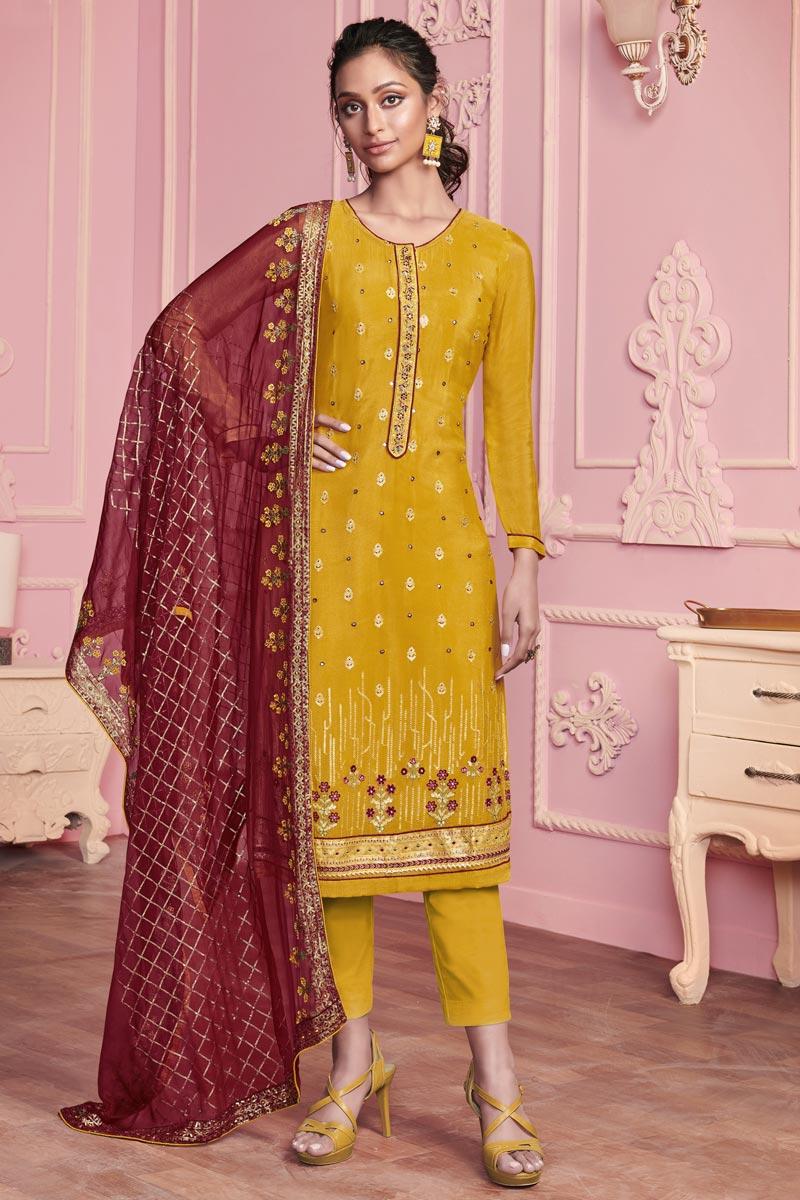 Function Wear Art Silk Fabric Yellow Color Embroidered Salwar Kameez