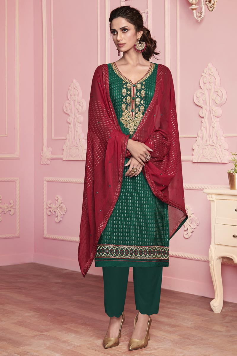 Green Color Festive Wear Embroidered Art Silk Fabric Salwar Suit