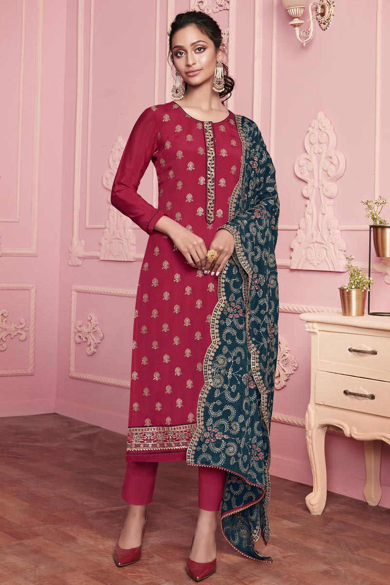 Maroon Color Party Style Embroidered Art Silk Fabric Salwar Kameez