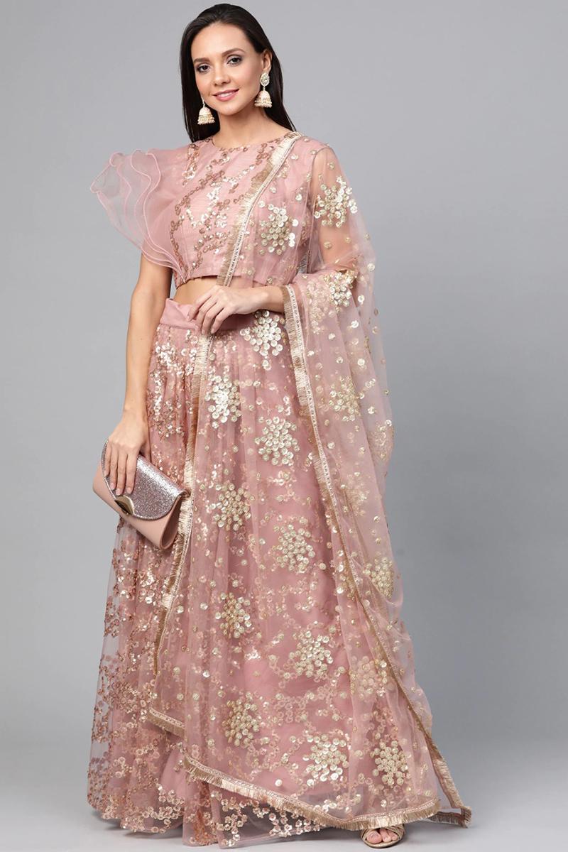 Sangeet Wear Pink Color Sequins Work Lehenga Choli In Net Fabric