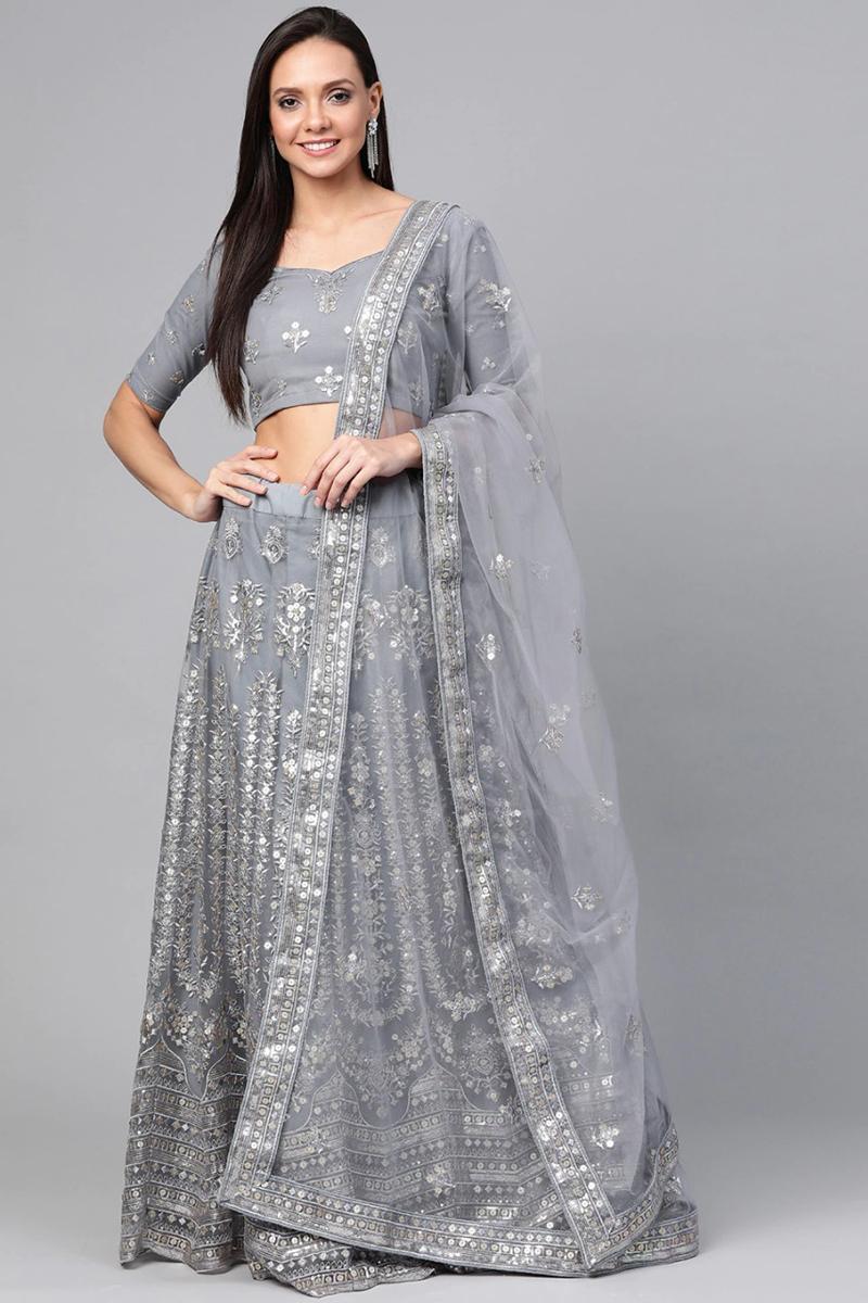 Net Fabric Wedding Wear Grey Color Sequins Work Lehenga Choli