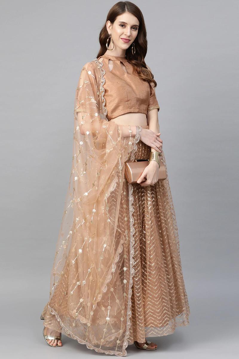 Brown Color Sequins Work Reception Wear Lehenga Choli In Net Fabric