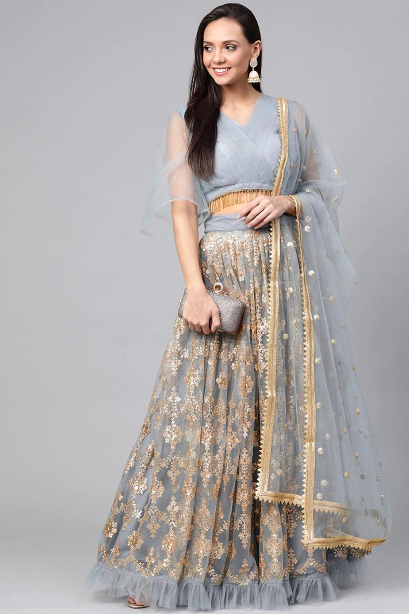 Sangeet Wear Net Fabric Sequins Work Lehenga Choli In Grey Color