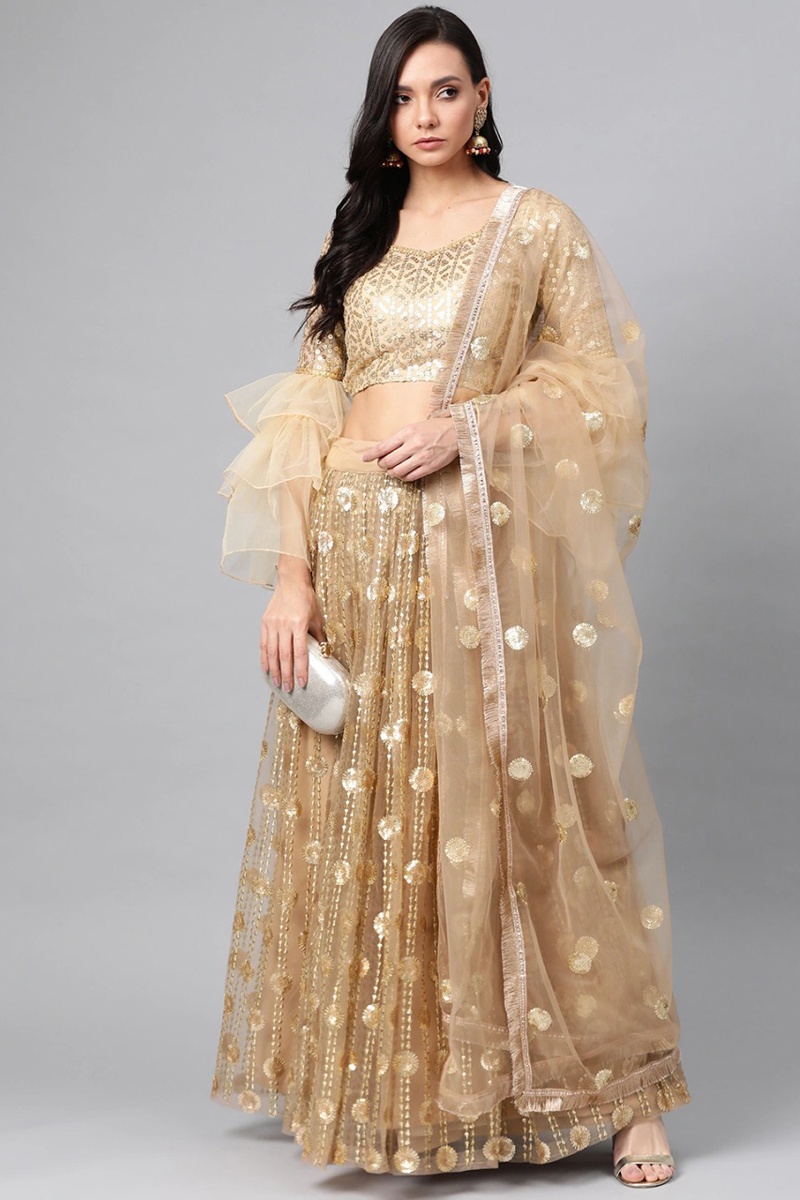 Wedding Wear Beige Color Net Fabric Sequins Work Lehenga Choli