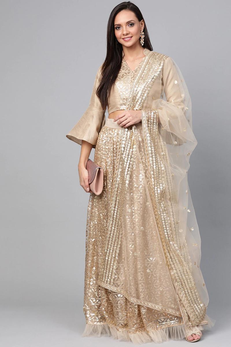 Beige Color Reception Wear Net Fabric Sequins Work Lehenga Choli