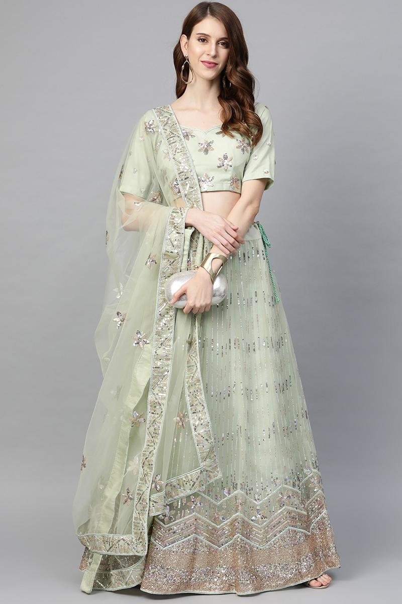 Sea Green Color Net Fabric Fancy Sequins Work Sangeet Wear Lehenga Choli
