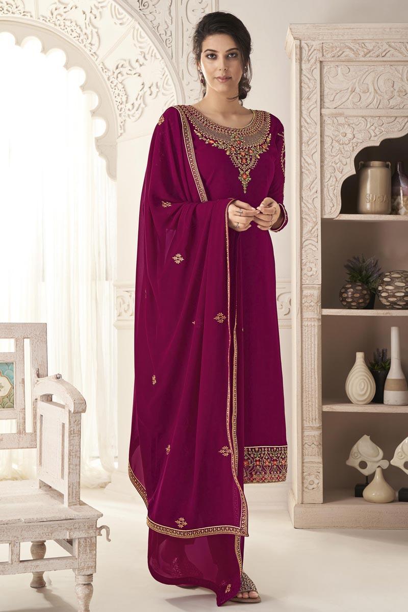 Purple Color Embroidered Salwar Kameez