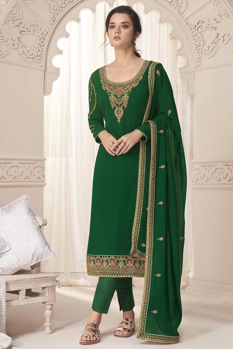 Green Color Georgette Fabric Function Wear Salwar Suit