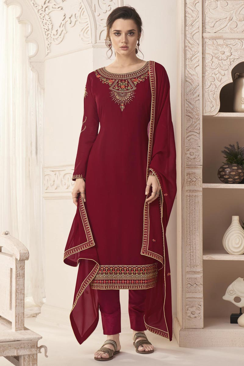 Maroon Color Georgette Fabric Function Wear Embroidered Salwar Suit