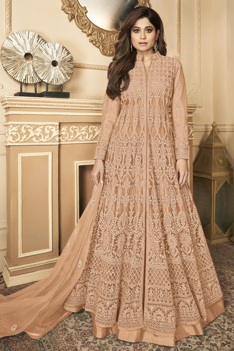 Shamita Shetty Sangeet Wear Embroidered Peach Color Anarkali Dress In Net Fabric