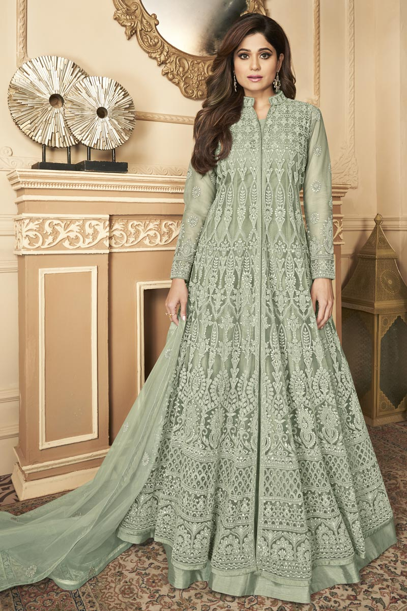 Shamita Shetty Net Fabric Sangeet Wear Sea Green Color Embroidered Anarkali Suit