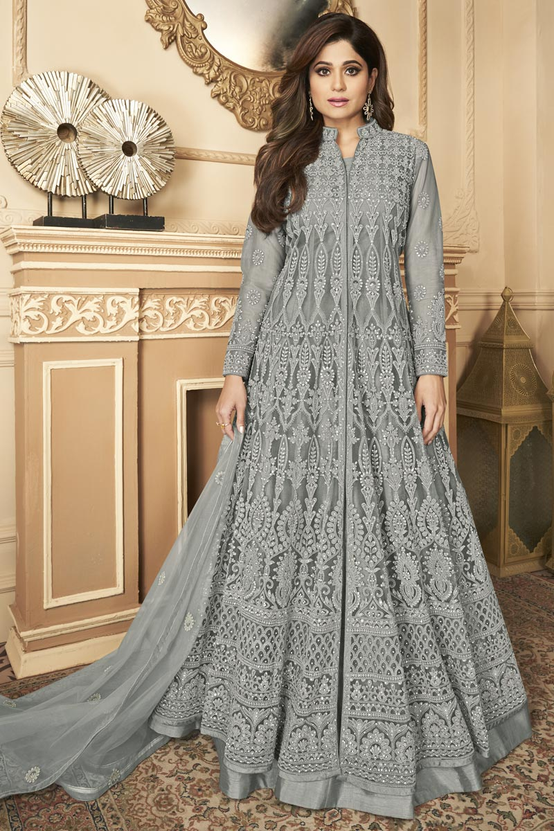 Shamita Shetty Grey Color Sangeet Wear Embroidered Anarkali Dress In Net Fabric