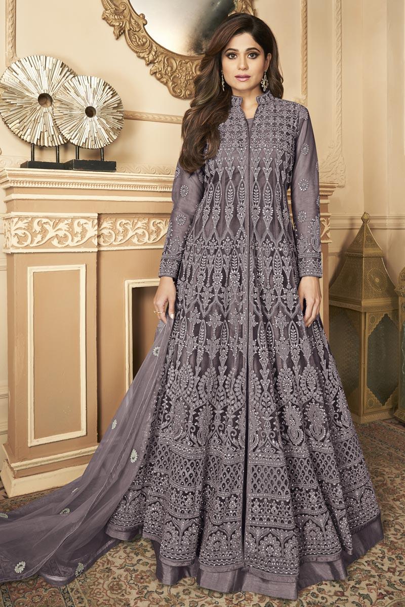 Shamita Shetty Sangeet Wear Dark Beige Color Embroidered Anarkali Dress In Net Fabric