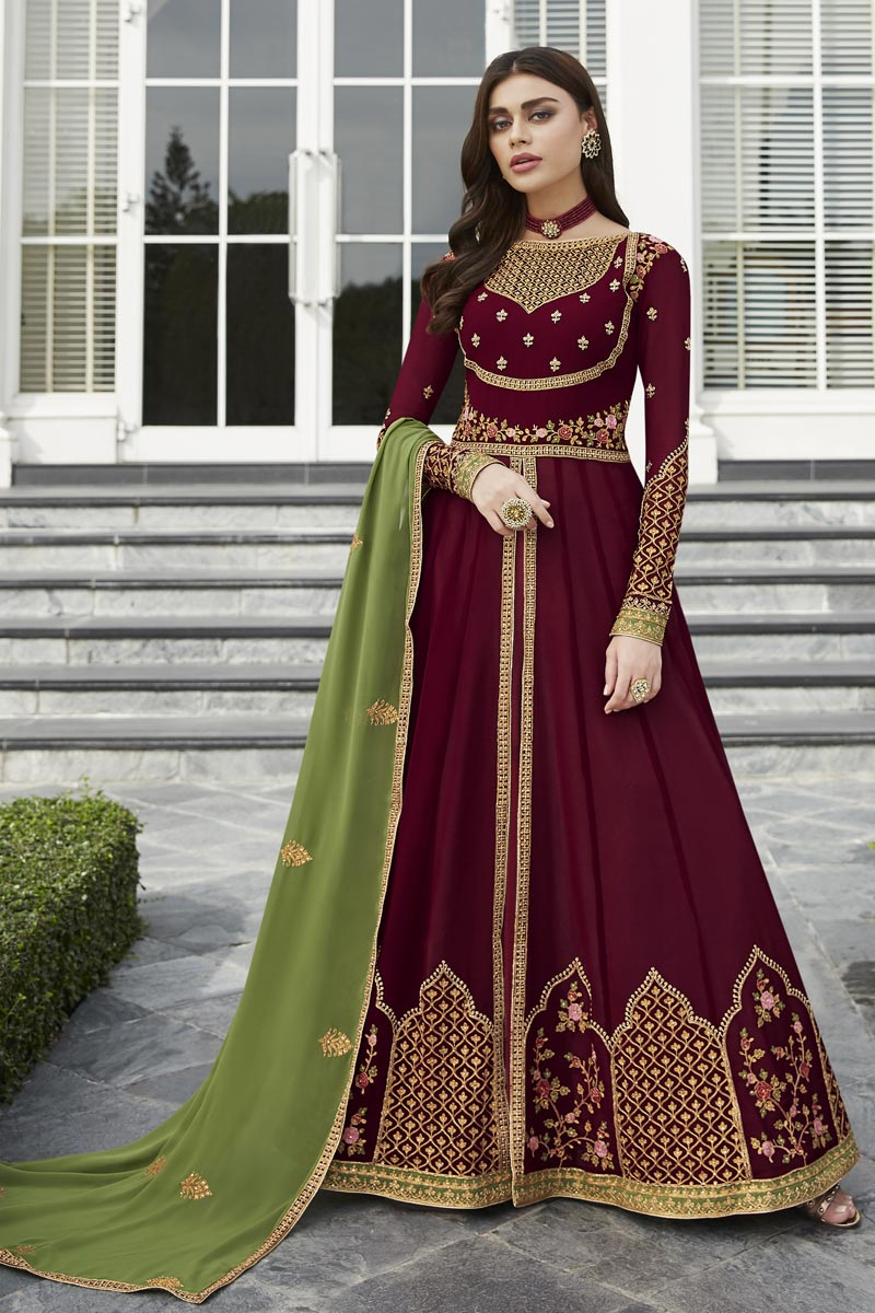 Eid Special Fancy Georgette Party Style Embroidered Maroon Anarkali Suit
