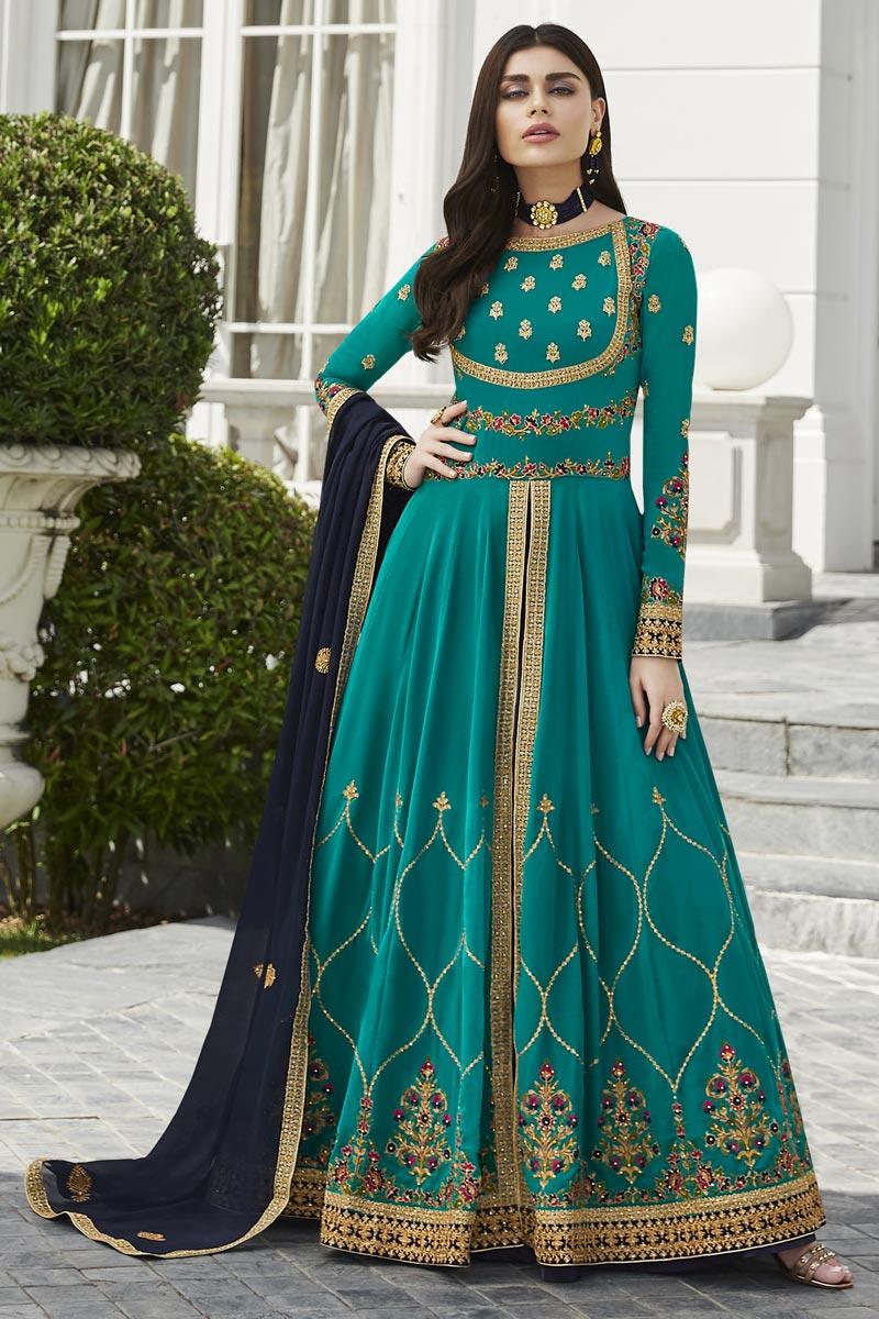 Eid Special Cyan Fancy Embroidered Party Style Anarkali Dress In Georgette