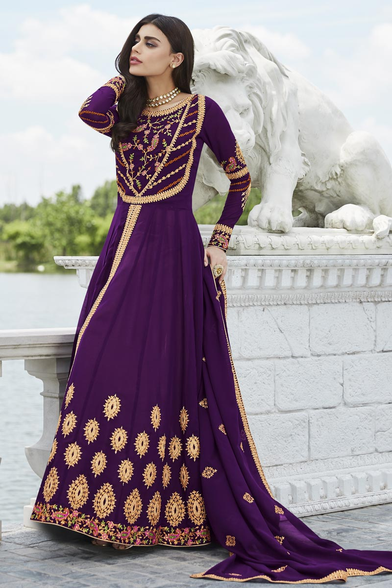 Eid Special Fancy Georgette Party Style Purple Embroidered Anarkali Suit