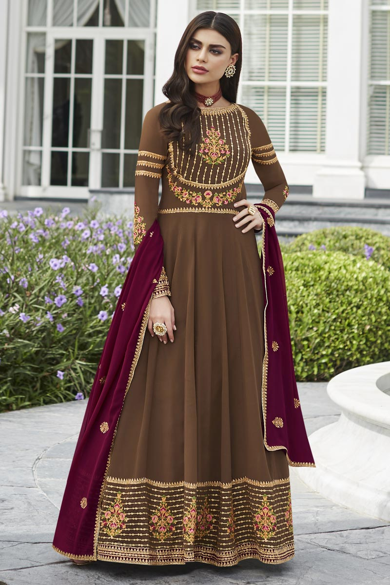 Eid Special Brown Fancy Embroidered Georgette Party Style Anarkali Dress
