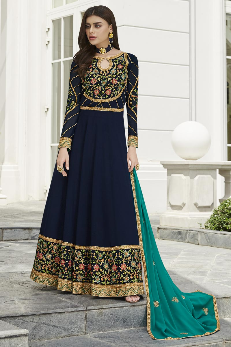 Eid Special Georgette Fancy Embroidered Party Style Anarkali Dress In Navy Blue