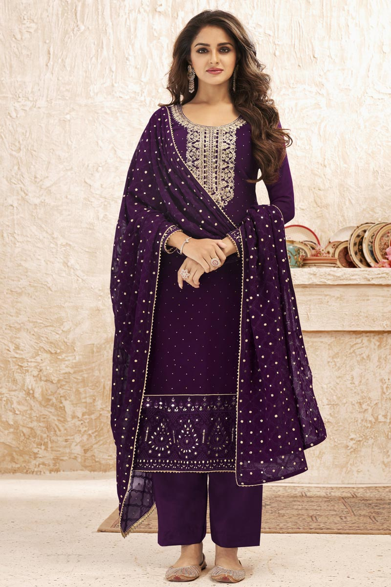 Purple Color Party Wear Embroidered Georgette Fabric Palazzo Dress