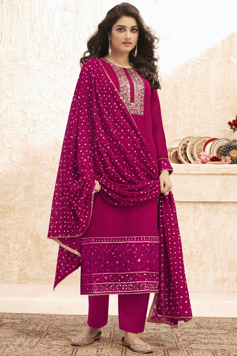 Rani Color Georgette Fabric Party Wear Embroidered Palazzo Dress