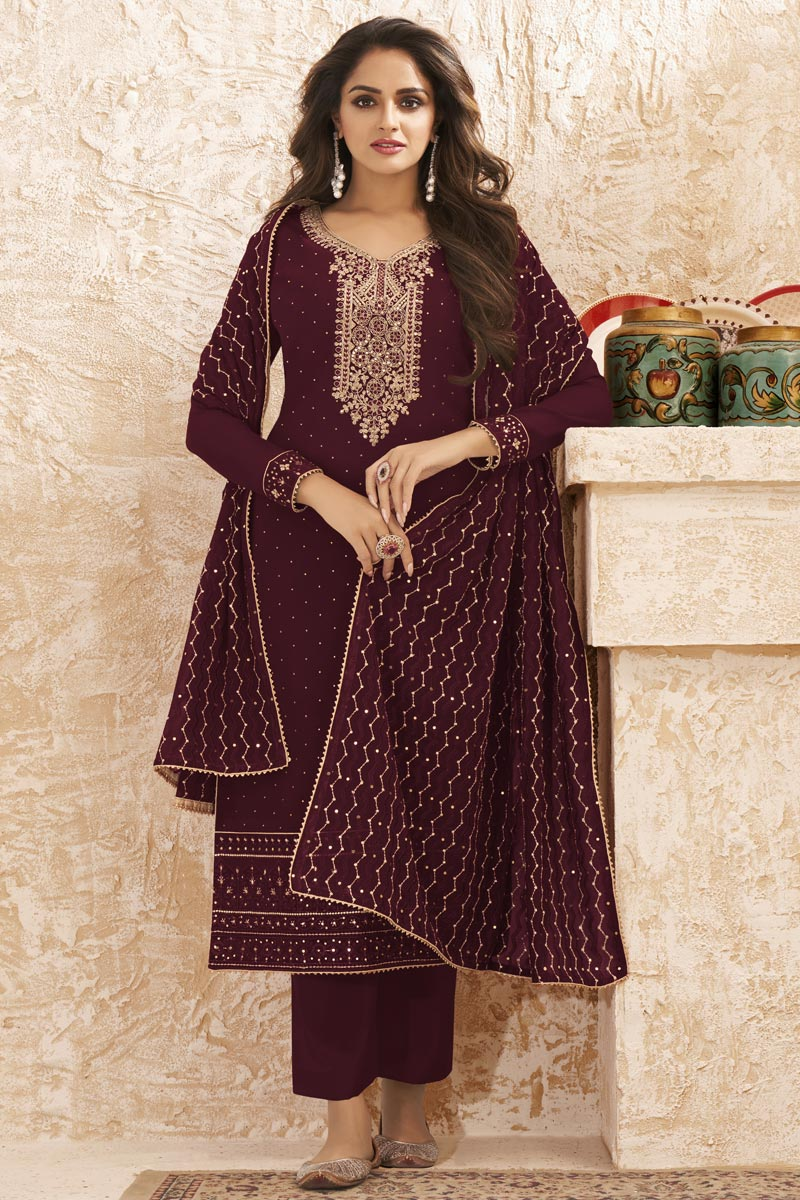 Georgette Fabric Party Wear Embroidered Palazzo Dress In Maroon Color