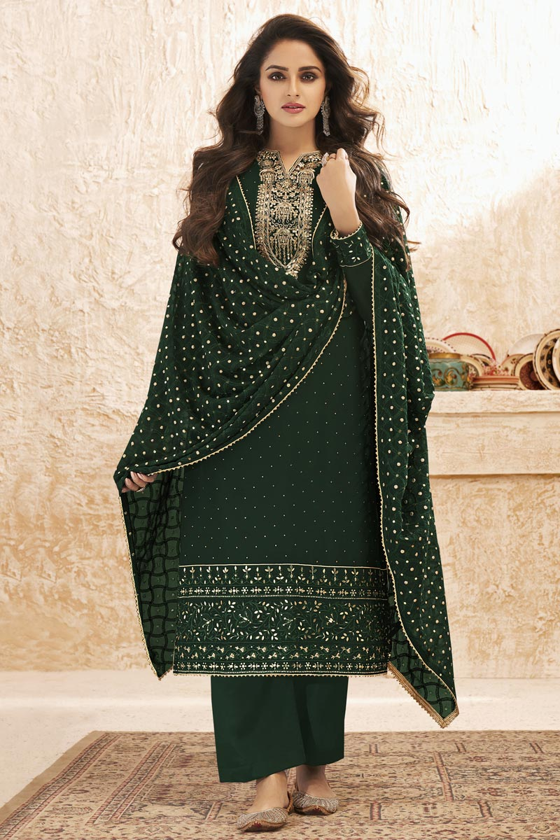 Party Wear Georgette Fabric Dark Green Color Embroidered Palazzo Suit