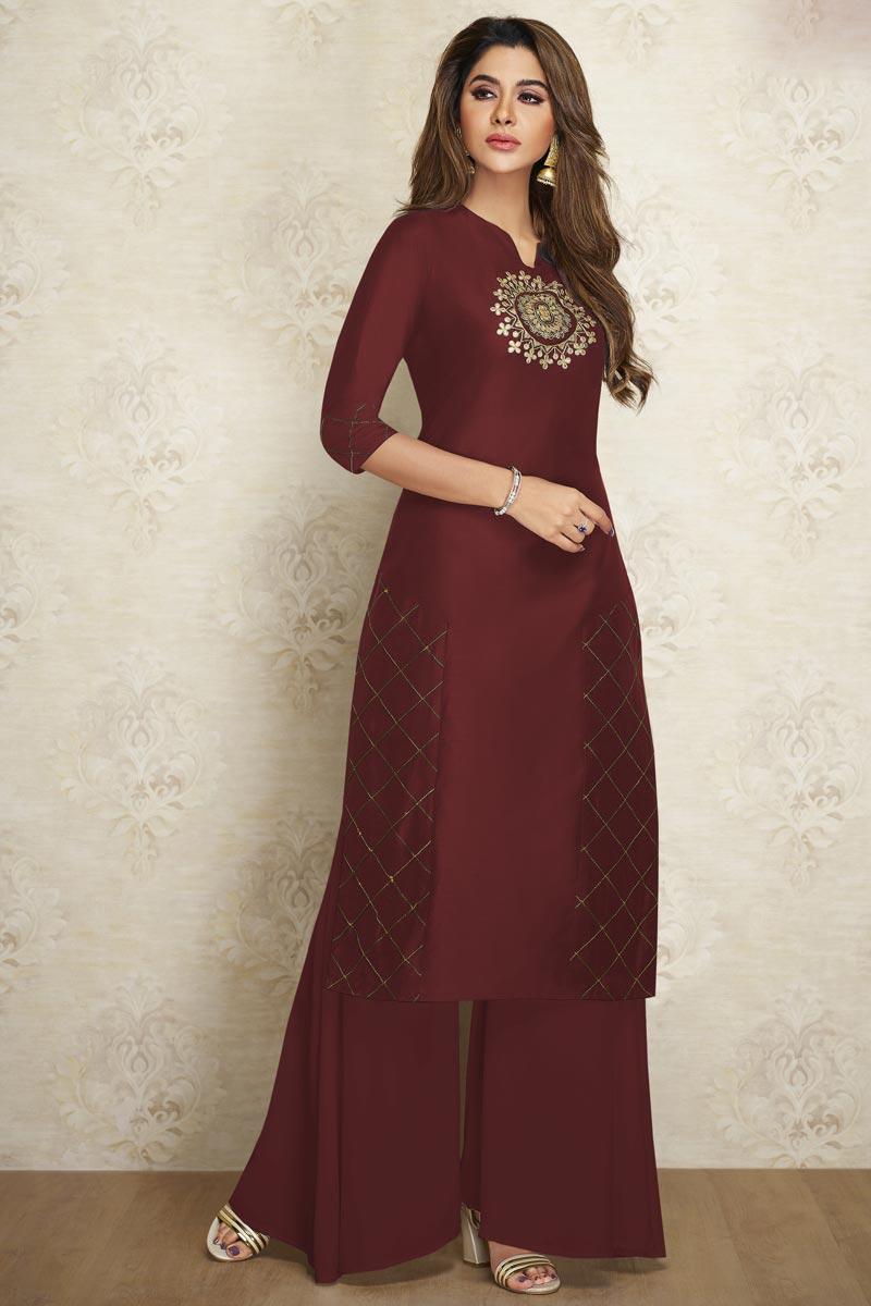 Maroon Color Fancy Viscose Fabric Festive Wear Kurti With Palazzo
