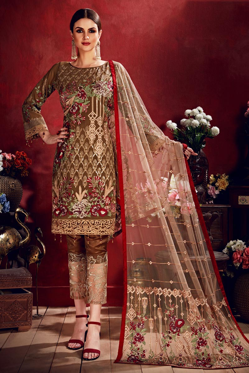 Party Wear Brown Embroidered Straight Cut Salwar Suit In Georgette