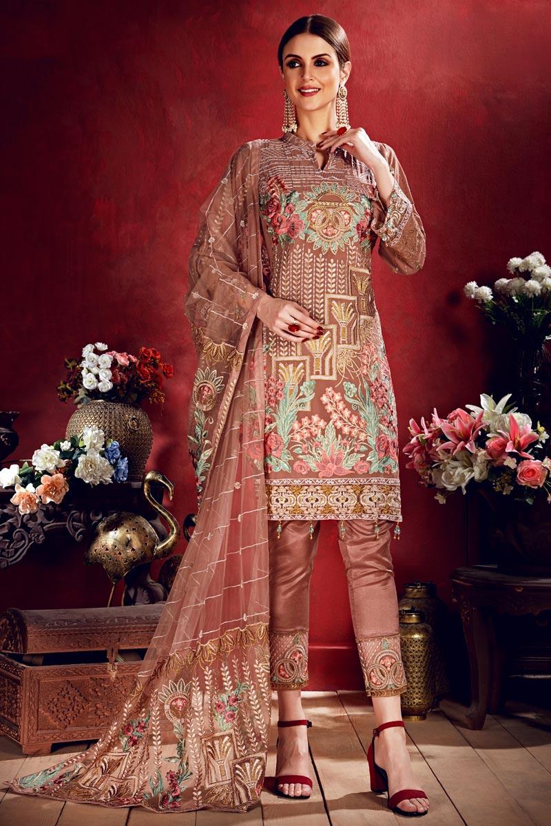Georgette Chikoo Color Party Wear Embroidered Designer Salwar Kameez