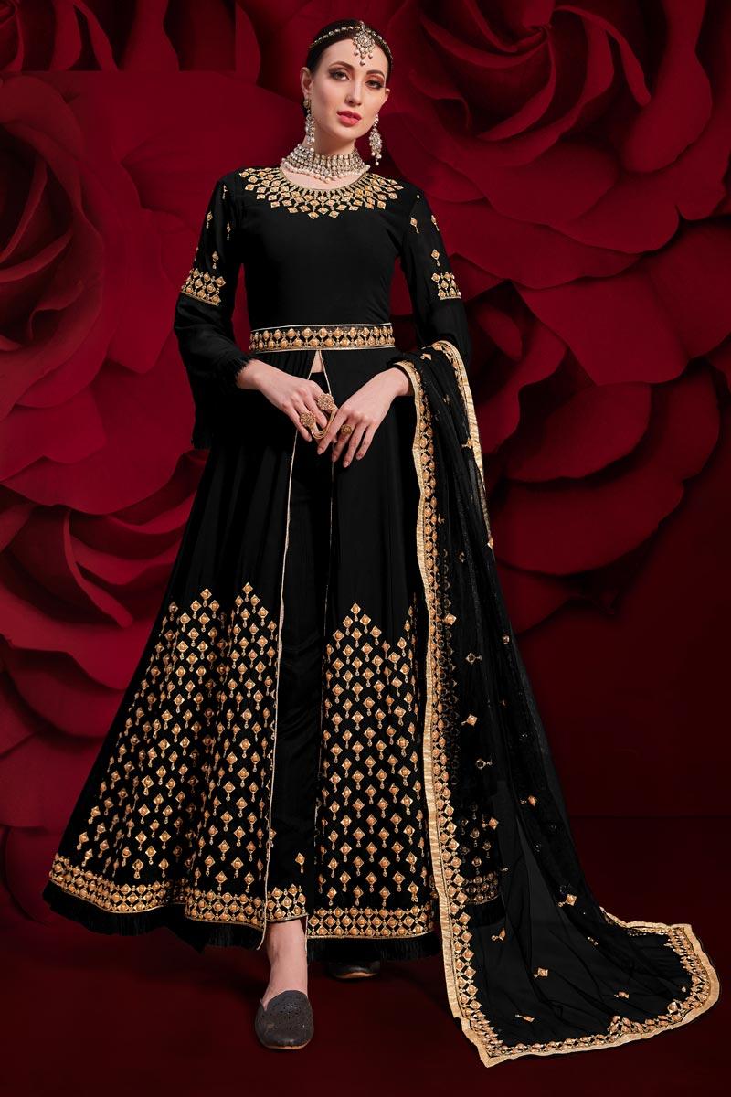 Black Sangeet Wear Embroidered Floor Length Anarkali Dress In Georgette Fabric